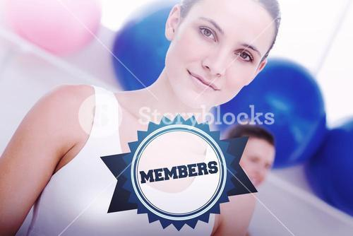 The word members and closeup portrait of woman