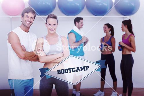 The word bootcamp and smiling couple