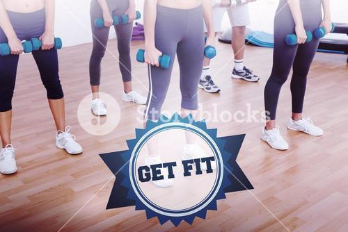 The word get fit and low section of women exercising