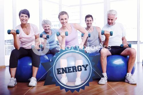 The word energy and fitness class with dumbbells