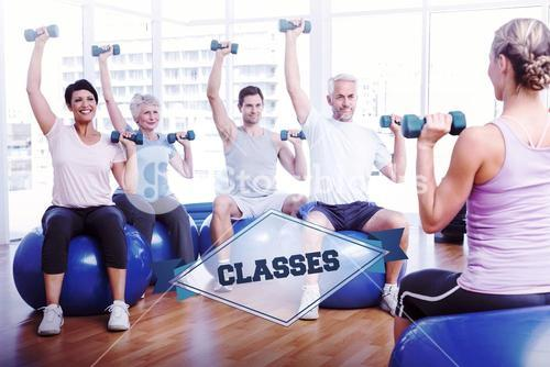 The word classes and fitness class with dumbbells