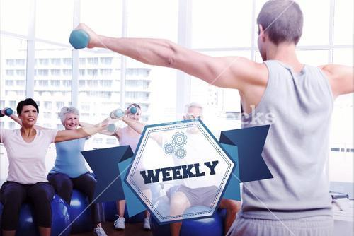 The word weekly and fitness class with dumbbells