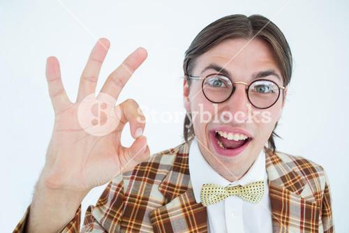 Geeky hipster doing the ok sign
