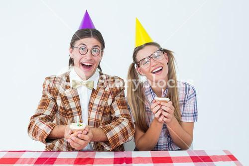 Geeky hipsters celebrating birthday