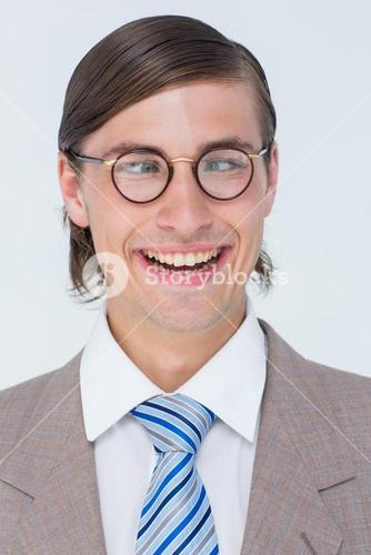 Funny geeky businessman