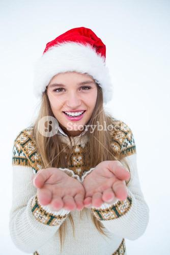 Happy hipster showing her hands