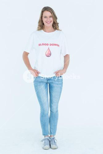 Blood donor standing hands in pocket