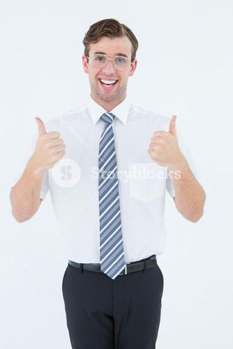 Happy geeky businessman with thumbs up