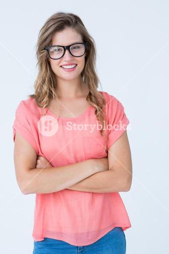 Pretty geeky hipster smiling at camera