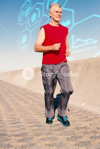 Composite image of active senior man jogging on the pier
