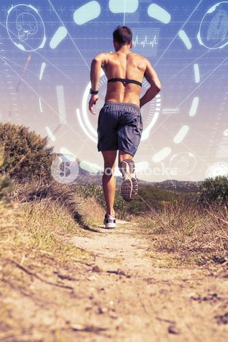 Composite image of shirtless man jogging with heart rate monitor around chest