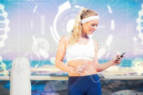 Composite image of fit blonde listening to music