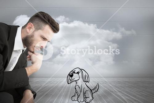 Composite image of hipster businessman playing game of chess