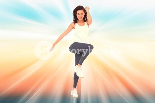 Composite image of fit woman doing aerobic exercise