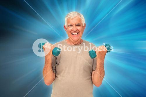Composite image of portrait of a happy senior man exercising with dumbbells
