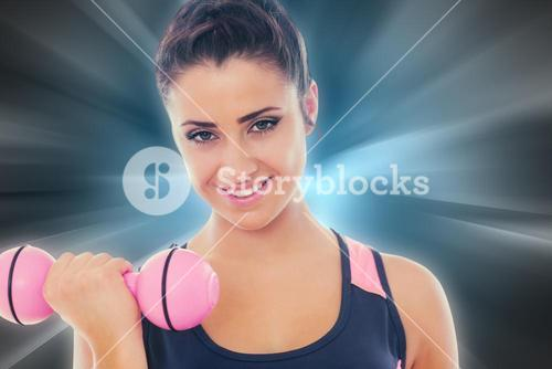 Composite image of woman lifting dumbbell weight with friend in background at gym
