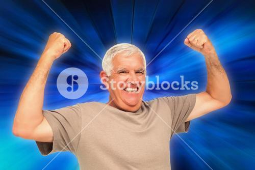 Composite image of portrait of a cheerful senior man with clenched fists