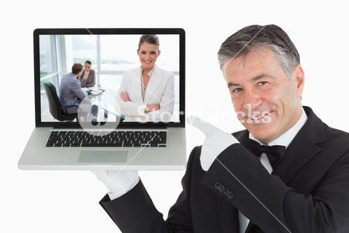 Composite image of smiling marketing manager standing in conference room