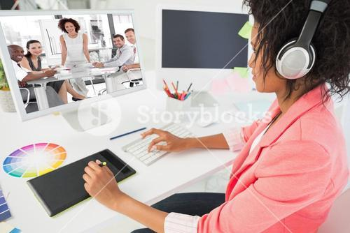 Composite image of female business woman giving a presentation