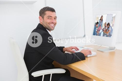 Composite image of team having meeting with one woman smiling at camera