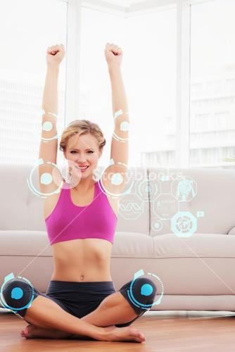 Composite image of happy blonde sitting in lotus pose with arms up