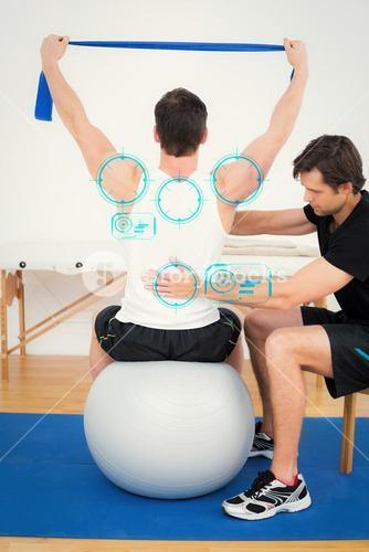 Composite image of man on yoga ball working with a physical therapist
