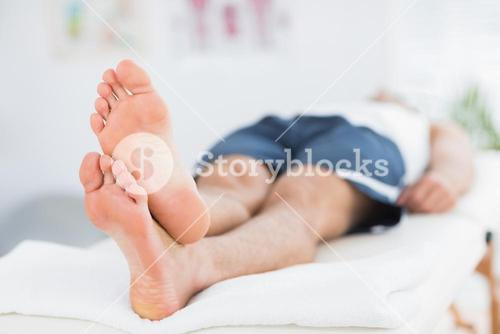 Man relaxing on massage table