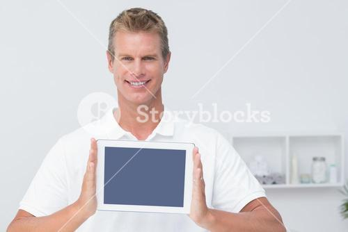 Doctor showing  tablet pc