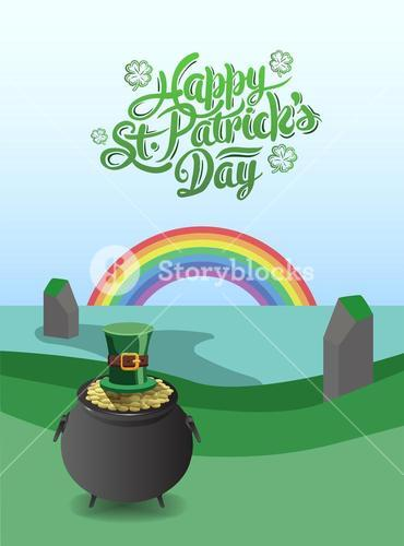 St patricks day vector with pot of gold and rainbow