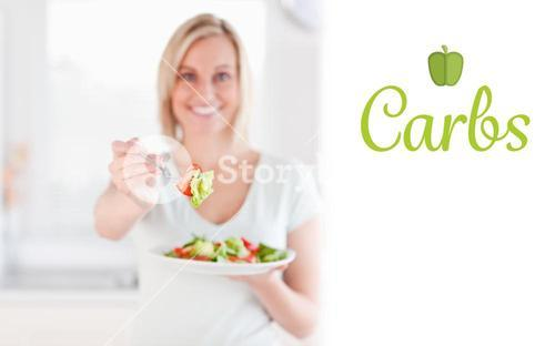 Carbs against woman offering salad