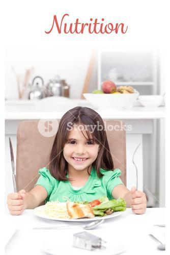 Nutrition against adorable llittle girl holding forks to eat pasta and salad