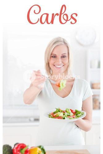 Carbs against blonde woman offering salad