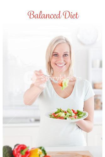 Balanced diet against smiling woman offering salad