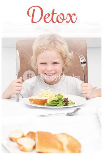 Detox against portrait of a little boy ready to eat pasta and salad