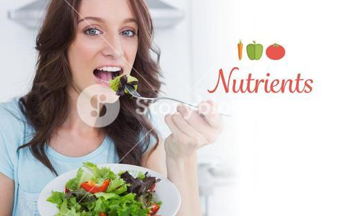 Nutrients against brunette eating healthy salad