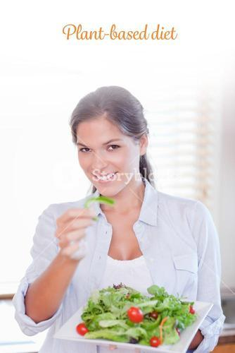 Plant-based diet against portrait of a happy woman eating a salad