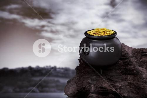 Composite image of pot of gold
