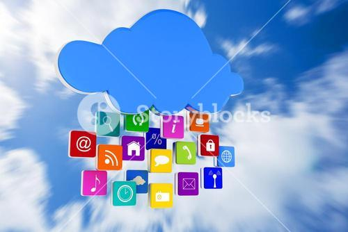 Composite image of cloud with apps