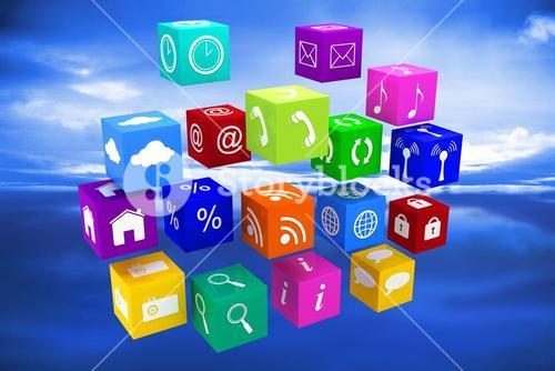 Composite image of app cubes