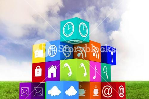 Composite image of app cube