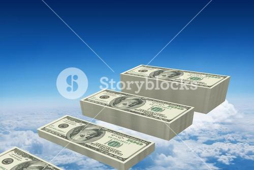 Composite image of stacks of dollars