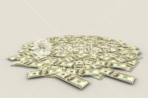 Composite image of pile of dollars
