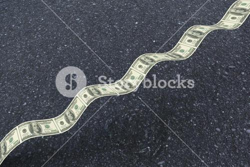 Composite image of bumpy dollar road