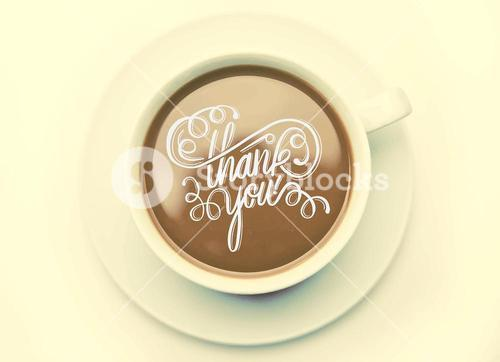 Thank you with coffee cup vector