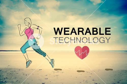Wearable technology vector with jogging woman