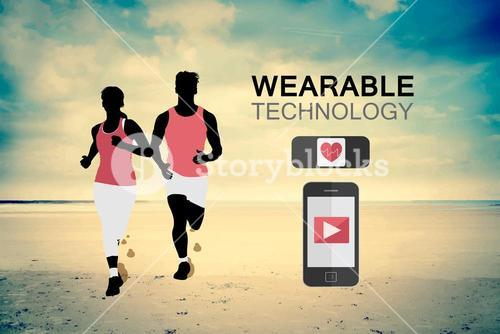 Wearable technology vector with jogging couple