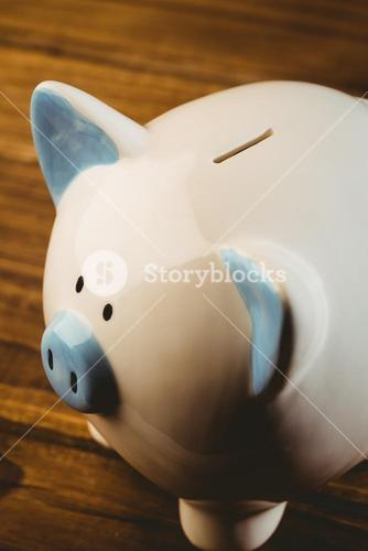 Blue and white piggy bank