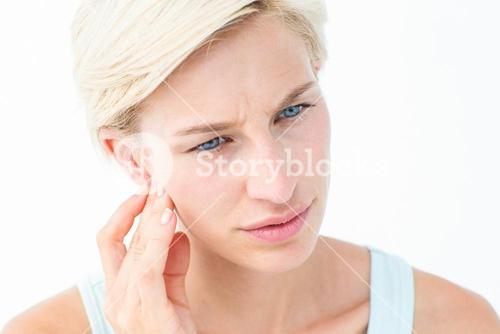 Pretty blonde with tooth pain