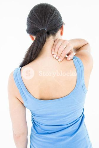 Attractive brunette with neck pain