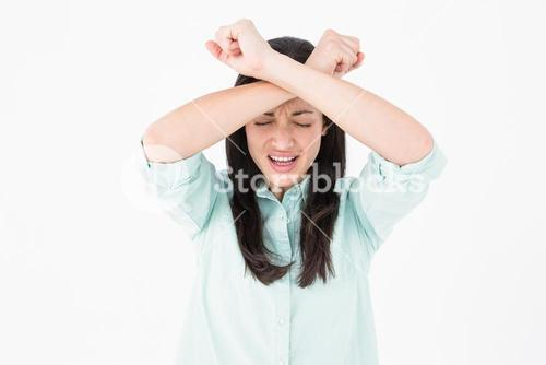 Troubled woman crying